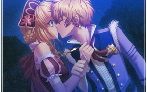 Picture night, kiss, hands, emblem, date, art, visual novel, miko, beast master and prince, erik, tiana