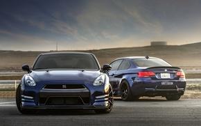 Picture the sky, clouds, blue, bmw, BMW, nissan, Nissan, blue, gt-r, e92, GT-R, r35