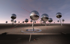 Picture reflection, line, balls, desktopography