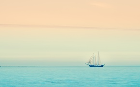 Picture sea, sunset, boat