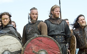 Picture the series, Travis Fimmel, Travis Fimmel, The Vikings, Vikings, shields, warriors