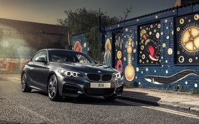 Picture BMW, Black, BMW, Lights, F22, Black, Coupe, M235i