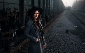 Picture girl, the way, model, hat, cars, braids, coat, beauty, crushed stone, bokeh, Maks Kuzin, cargo