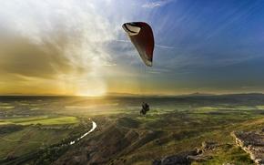 Picture landscape, sunset, sport, paragliding, paragliding