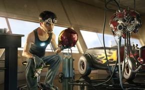 Picture machine, beer, glasses, iron man, Tony Stark