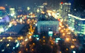 Wallpaper glass, drops, light, the city, rain, wet, bokeh