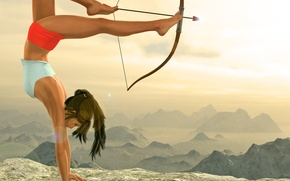 Picture flexibility, bow, art, Tomb Raider, legs, Lara Croft