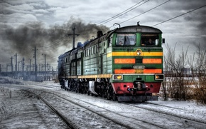 Wallpaper hdr, winter, locomotive, railroad