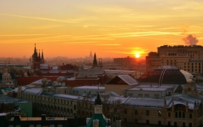 Picture the sun, sunset, the city, the evening, Moscow, The Kremlin, center, Vasil Anders, Lookout