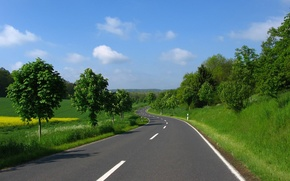 Picture road, greens, summer, the sky, grass, asphalt, clouds, trees, markup, glade