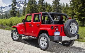 Picture trees, mountains, red, SUV, Jeep, rear view, Sahara, Wrangler, Ringler, Jeep, Anlimited, Unlimited, Sugar