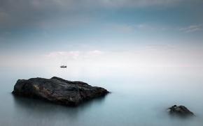 Picture sea, landscape, fog, ship
