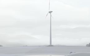 Wallpaper minimalism, vector, windmill