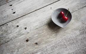 Picture macro, cherry, tree, Board, plate, floor, cherry