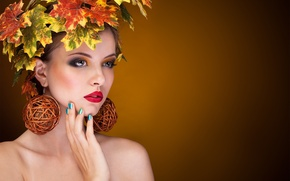 Picture autumn, leaves, girl, earrings, makeup, maple, brown hair, shoulders, wreath, manicure