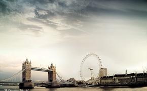 Wallpaper clouds, London, bridge, Dreamy World