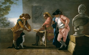 Wallpaper picture, genre, Jose of the Castle, Children Playing with a Cat or the Artist's Studio