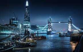 Picture City, Bridge, London, Thames, River, Tower, Nigth, Shard