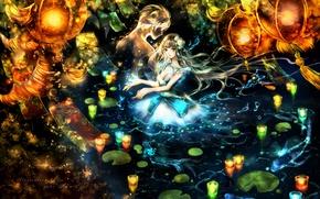 Picture water, girl, candles, anime, art, lights, guy, Yuki*mami