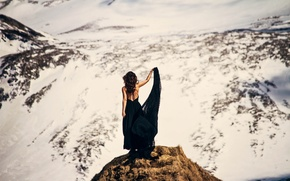 Picture girl, mountains, back, dress
