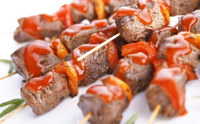 Picture meat, sauce, kebab, Meat