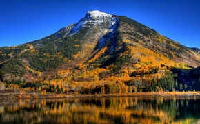 Picture autumn, trees, mountains, lake