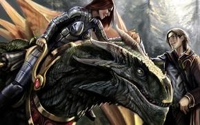 Wallpaper dragon, Heroes of ravine, girl, guy