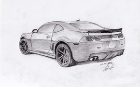 Picture machine, figure, Chevrolet, Camaro, pencil, Zlobin