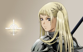 Picture kawaii, girl, sword, game, Claymore, long hair, woman, anime, blue eyes, pretty, ken, blonde, asian, …