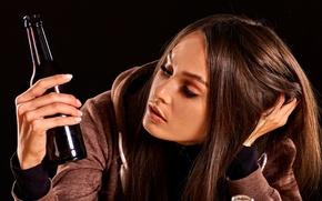 Wallpaper longing, sadness, jacket, brown hair, thought, girl, black background, bottle, sitting