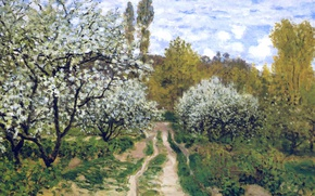 Wallpaper landscape, picture, spring, garden, Claude Monet, Trees in Bloom
