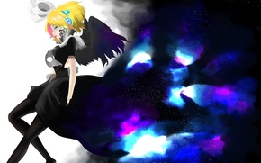 Picture the sky, girl, stars, wings, anime, headphones, art, vocaloid, kagamine rin