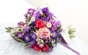 Picture roses, bouquet, chrysanthemum, Roses, eustoma, Bouquets, Eustoma