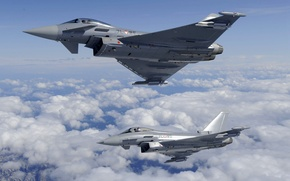 Picture clouds, flight, pair, Fighters