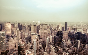 Picture the city, lights, fog, building, New York, skyscrapers, roof, USA, New York, Manhattan, NYC, New …