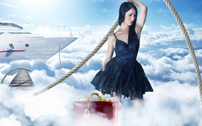 Picture road, the sky, girl, clouds, the way, fantasy, pink, heaven, ship, dress, rope, suitcase, journey, …