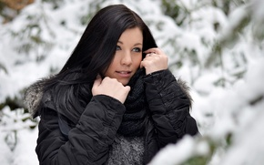 Picture winter, forest, girl, snow, black hair, in black