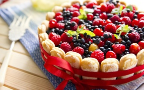 Picture berries, raspberry, food, blueberries, pie, cakes, sweet