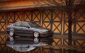 Picture reflection, BMW, BMW, puddle, grey, E46, The 3 series, 325