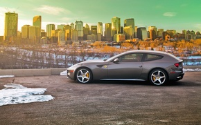 Wallpaper road, light, snow, the city, Parking, Ferrari, Ferrari, Ferrari Four