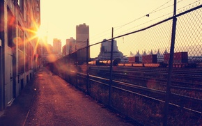 Picture the sun, the city, building, home, morning