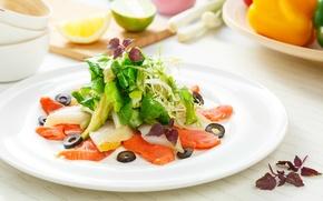 Picture fish, vegetables, olives, salad, salmon