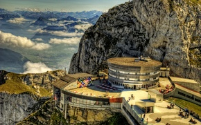 Picture clouds, mountains, rocks, Switzerland, the hotel, Switzerland, Mount Pilatus, mount Pilatus