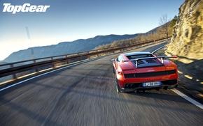 Picture road, the sky, mountains, red, Lamborghini, supercar, spoiler, Gallardo, supercar, rear view, top gear, the …