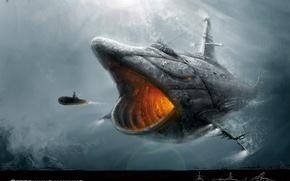 Picture submarine, 2D Work, cetorhinus