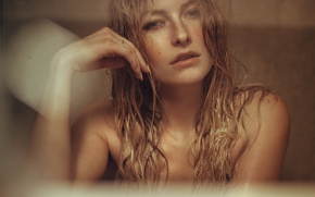 Picture look, face, background, model, hair, wet