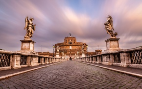 Picture pavers, Rome, Italy, Italy, sculpture, Rome, Castel Sant'angelo, Sant'Angelo Bridge, Mausoleum of Hadrian, Ponte Sant'angelo, …