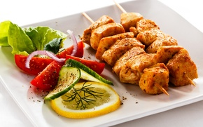 Wallpaper lemon, bow, plate, meat, tomatoes, kebab, cucumbers, salad