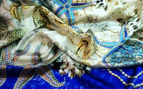 Picture color, butterfly, fabric, pearl, shawl, folds, silk, textiles, starfish