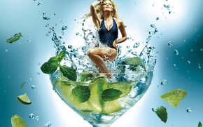 Picture swimsuit, glass, blonde, lime, mint, Mojito